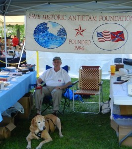 "SHAF president Tom Clemens, and ""Bomber,"" at the heart of the Civil War heritage area's First Call event in Hagerstown, Md, June 16 and 17. The event kicks off a three year commemoration of the Civil War in central Maryland."